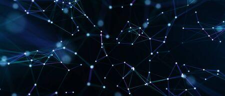 Résumé futuriste - technologie avec des formes polygonales sur fond bleu foncé. Concevoir le concept de technologie numérique. illustration 3D Banque d'images