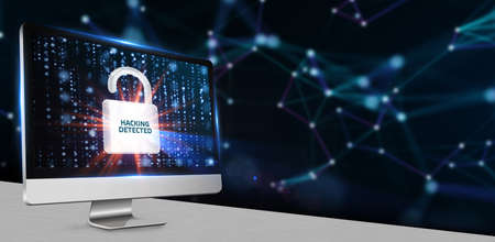 Cyber security data protection business technology privacy concept. Hacking detected.