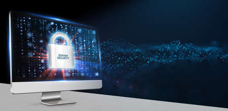 Cyber security data protection business technology privacy concept. Server security.