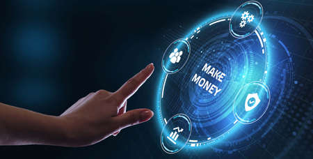 Businessman presses button make money on virtual screens. Business, Technology, Internet and network concept. Imagens