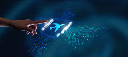 Business, Technology, Internet and network concept. Travel transportation concept with planes.