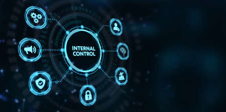 Businessman presses button internal control on virtual screens. Business, Technology, Internet and network concept.