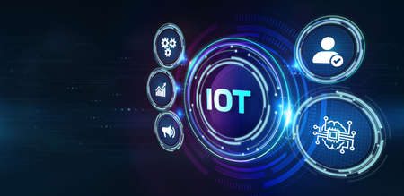 Internet of things - IOT concept. Businessman offer IOT products and solutions.