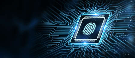 Fingerprint scan provides security. Business, technology, internet and networking concept. Stockfoto