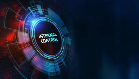 button internal control on virtual screens. Business, Technology, Internet and network concept.