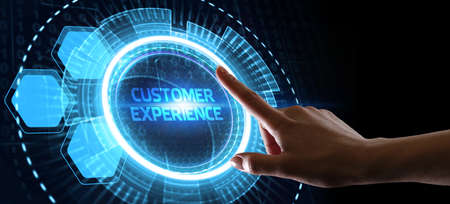 CUSTOMER EXPERIENCE inscription, social networking concept. Business, Technology, Internet and network concept.