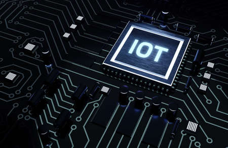Internet of things - IOT concept. Businessman offer IOT products and solutions. Microchip