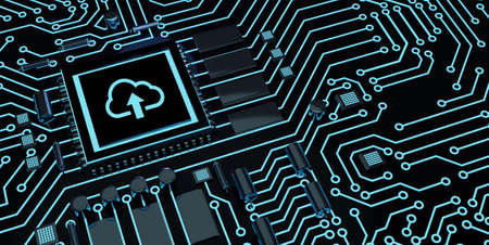 Cloud computing concept. Business, technology, internet and networking concept. Microchip