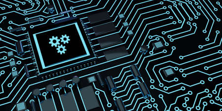 Business, Technology, Internet and network concept. Automation Software Technology Process System. Microchip