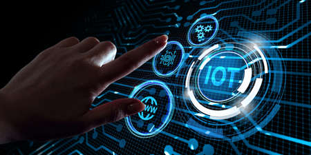 Internet of things - IOT concept. Businessman offer IOT products and solutions. 版權商用圖片