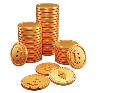 Stacks of bitcoins cryptocurrency. 3d render illustration Zdjęcie Seryjne