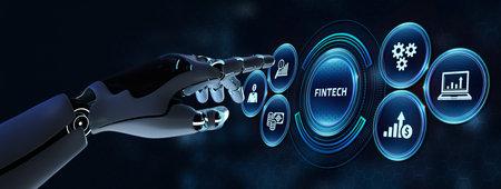Fintech -financial technology concept. Robot pressing button on virtual screen. 3d render Zdjęcie Seryjne