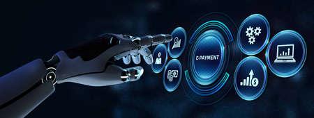 E-payment. Digital money online banking financial technology concept. Robot pressing button on virtual screen. 3d render