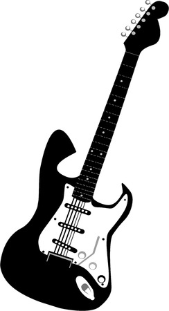 Vector black electric guitars isolated on white  イラスト・ベクター素材