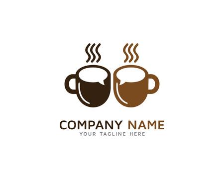 時間休憩コーヒー話ロゴ  イラスト・ベクター素材