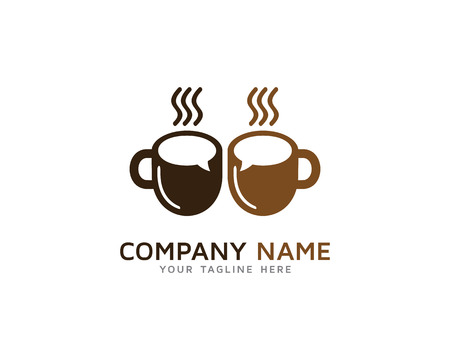 Time Break Coffee Talk Logo Illustration