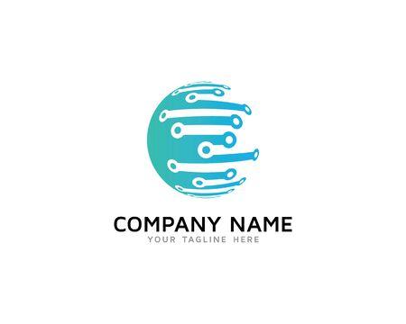 Logotipo de la esfera digital de la tecnología mundial Logos