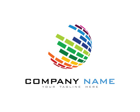 3D 컬러 디지털 글로벌 세계 로고