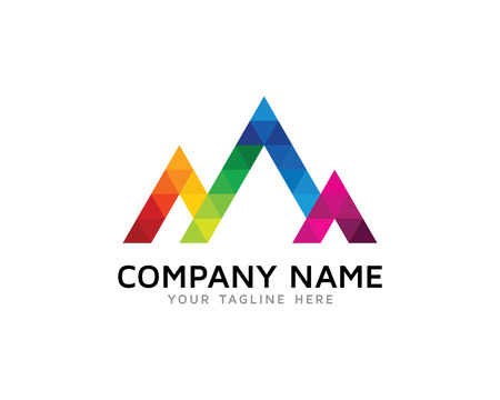 Colorful Triangle Letter M Logo