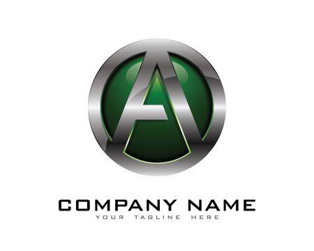 Letter A 3D Chrome Circle Logo Design Template