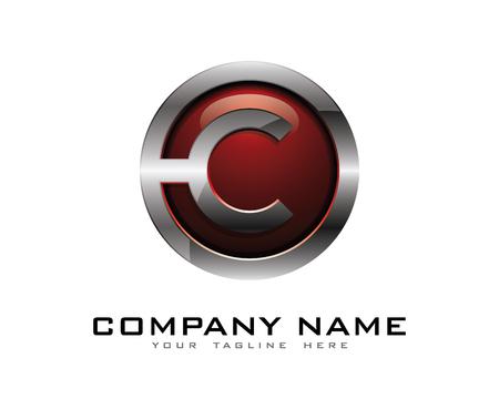 Letter C 3D Chrome Circle Logo Design Template