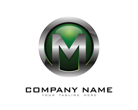 Letter M 3D Chrome Circle Logo Design Template 일러스트