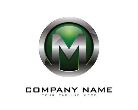Letter M 3D Chrome Circle Logo Design Template Illustration
