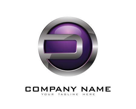 Letter D 3D Chrome cirkel Logo ontwerpsjabloon Stock Illustratie