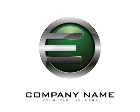 Letter E 3D Chrome Circle Logo Design Template Illustration