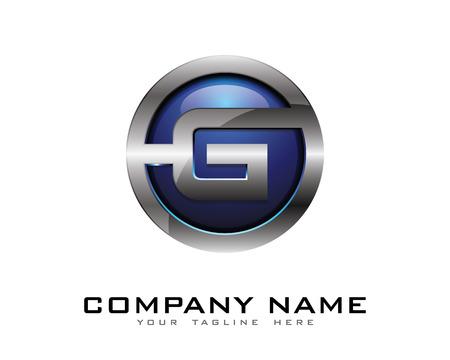 편지 G 3D 크롬 서클 로고 디자인 템플릿