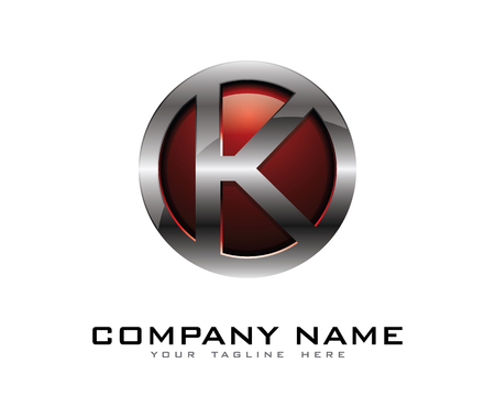 Letter K 3D Chrome Circle Logo Design Template 向量圖像