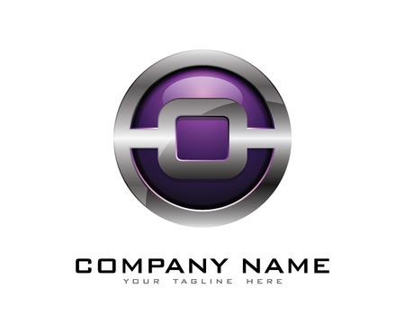Letter O 3D Chrome Circle Logo Design Template Ilustração