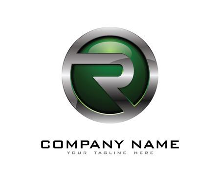편지 R 3D 크롬 서클 로고 디자인 템플릿