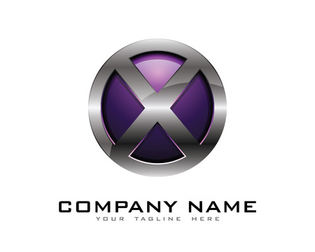 Letter X 3D Chrome Circle Logo Design Template