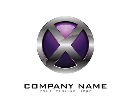 Letter X 3D Chrome cirkel Logo ontwerpsjabloon Stock Illustratie