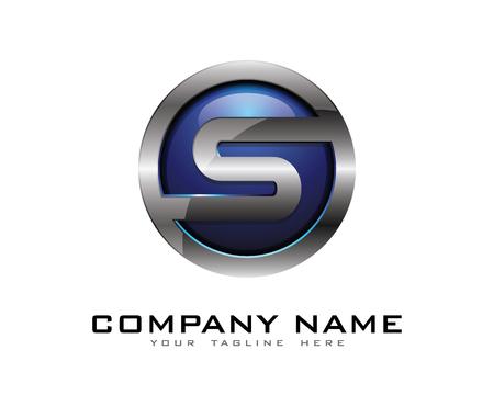 문자 S 3D 크롬 서클 로고 디자인 템플릿