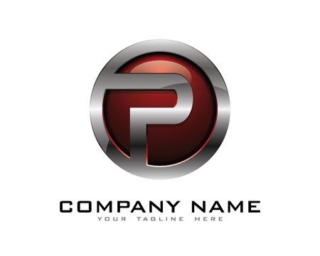 Letter P 3D Chrome Circle Logo Design Template Illustration