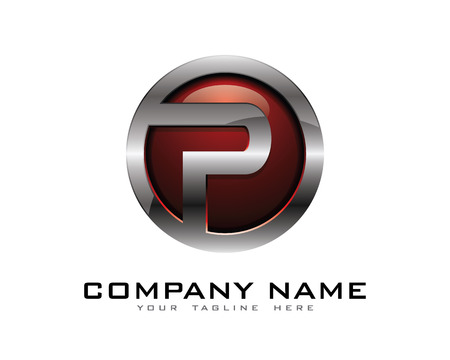 platinum: Letter P 3D Chrome Circle Logo Design Template Illustration