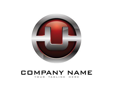 Letter U 3D Chrome Circle Logo Design Template Illustration