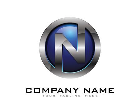 Letter N 3D Chrome Circle Logo Design Template