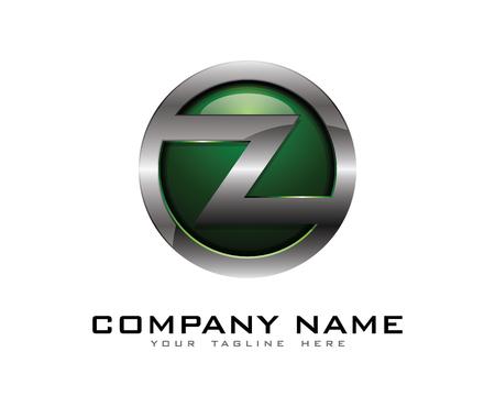 Letter Z 3D Chrome Circle Logo Design Template Illustration