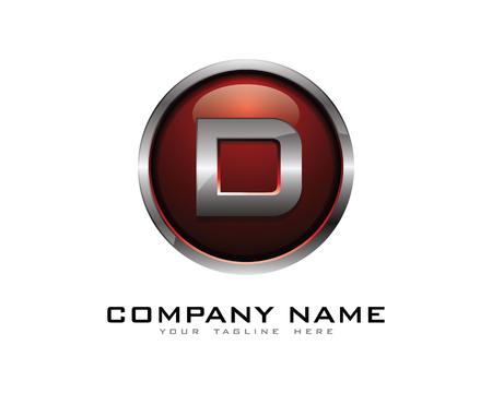 chrome: Letter D 3D Chrome Circle Logo Design Template Illustration