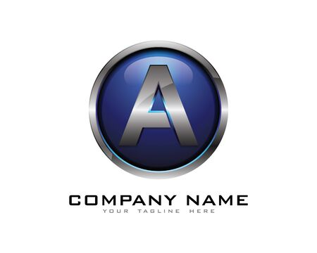 Letter A 3D Chrome cirkel Logo ontwerpsjabloon Stock Illustratie