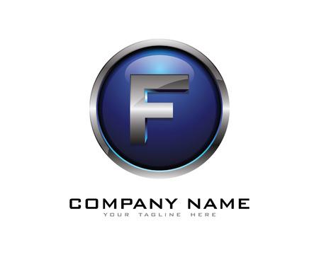Letter F 3D Chrome Circle Logo Design Template