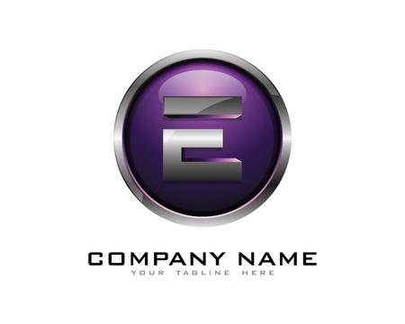 Letter E 3D Chrome Circle Logo Design Template Ilustracja
