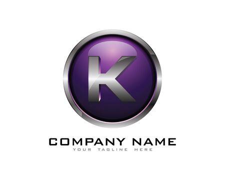 Letter K 3D Chrome Circle Logo Design Template Stock Vector - 69815474