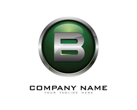 Letter B 3D Chrome Circle Logo Design Template Çizim