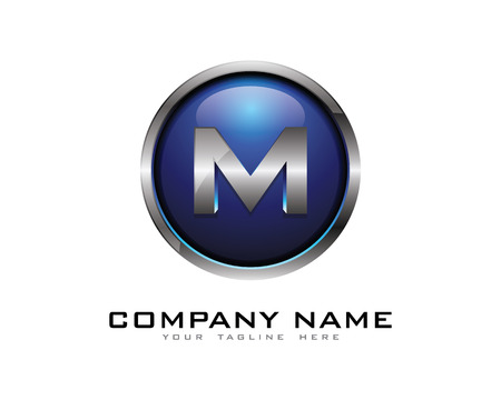 Letter M 3D Chrome Circle Logo Ontwerp Sjabloon