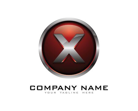 Letter X 3D Chrome Circle Logo Design Template