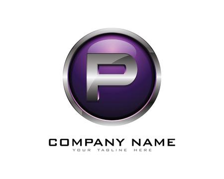 Letter P 3D Chrome Circle Logo Design Template Ilustração